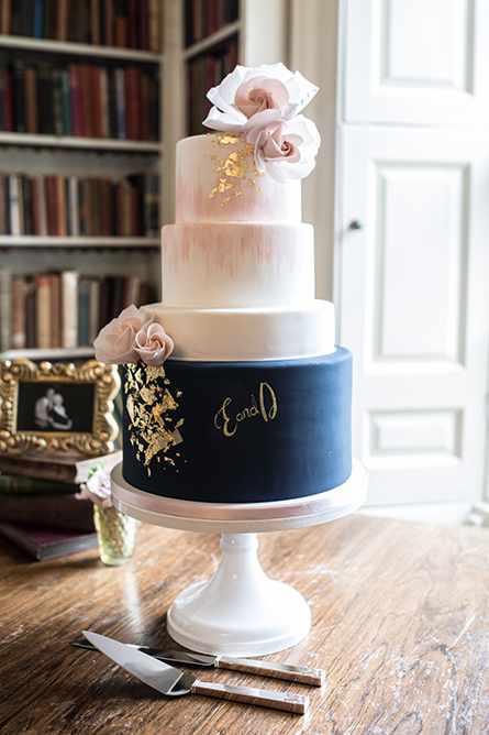 Navy Blue With Gold Leaf And Pink Fantasy Roses Orange